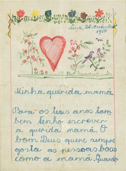 Carta de Waltraud Hoffinger para a família portuguesa depois de ter voltado para Linz