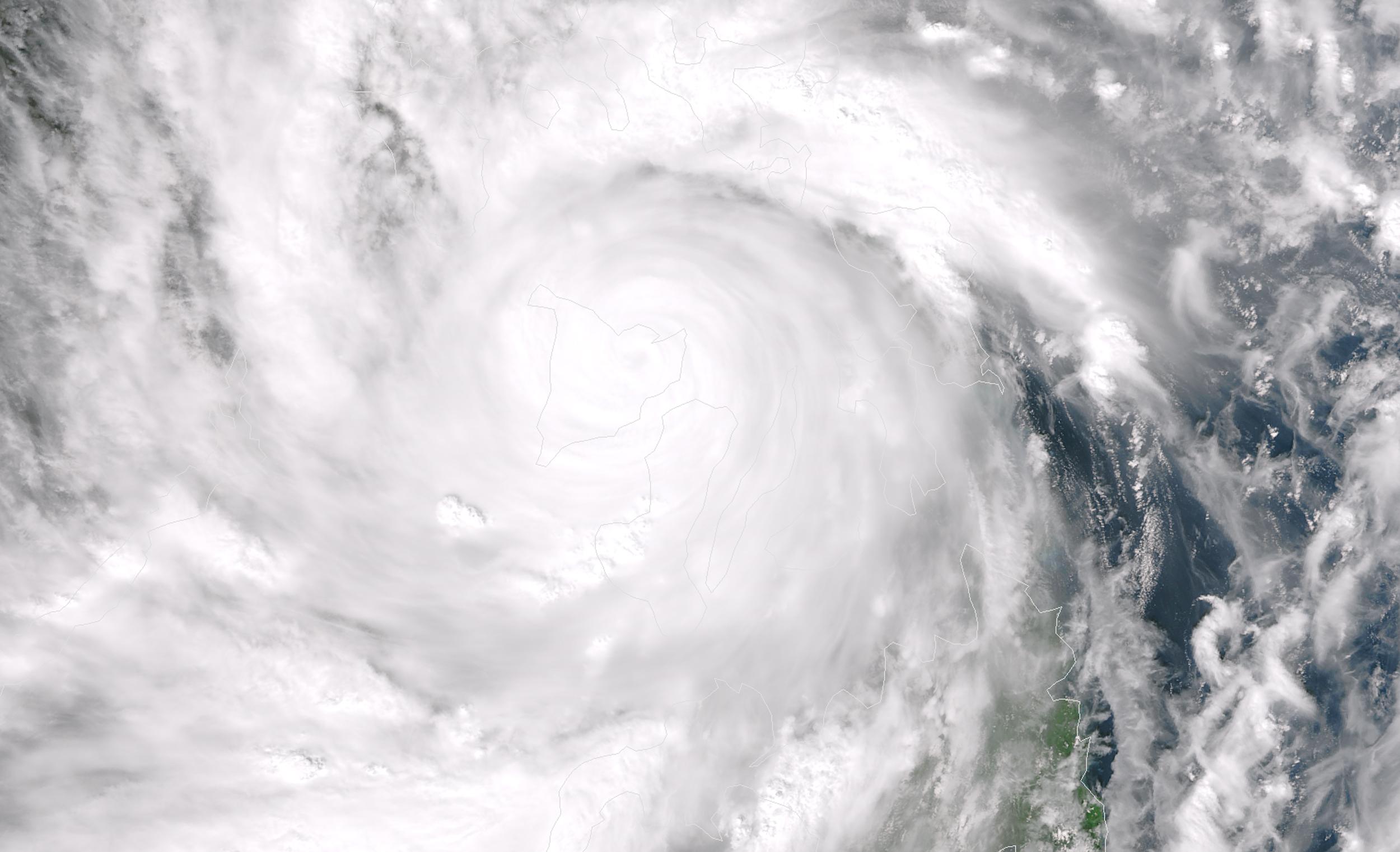 Imagem do tufão fornecida pela NASA